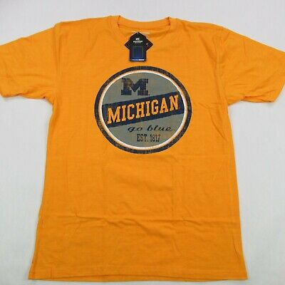 Michigan State Wolverines Go Blue NCAA Short Sleeve tShirt Yellow Large NWT