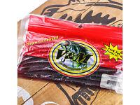 "v /& m bass plastic pro mag worm 7/"" black blue 15 per bag w// pork fat 7pmbbg15"