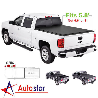 Soft Roll Up Tonneau Cover For 2007-2013 Chevy Silverado GMC Sierra 5.8ft Bed