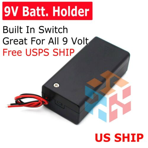 9V Volt PP3 battery holder box dc case w/ wire lead on/off switch FP