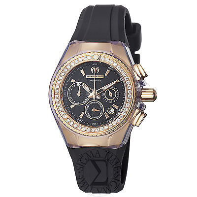 Technomarine Women's Cruise Original Black Chronograph Dial Diamond Watch 111008