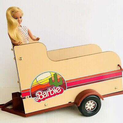 Vintage 1970s Barbie Horse Trailer With Hitch And Blonde Twist And Turn Doll