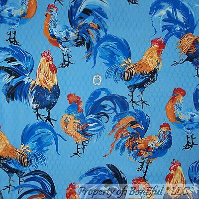 BonEful Fabric FQ Cotton Quilt Blue Hen Lg Rooster Chicken House Kitchen Feather