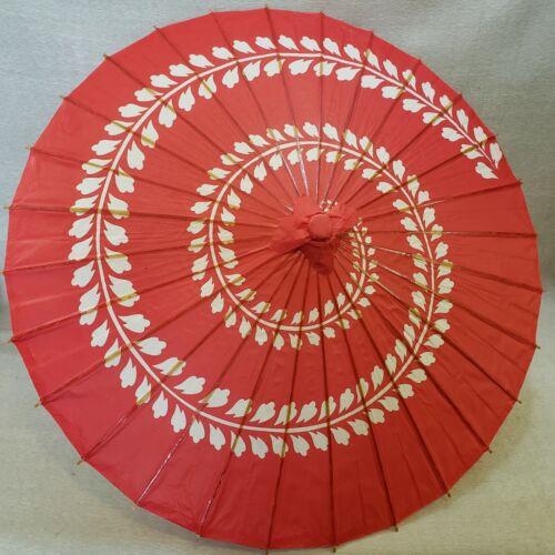 "32"" Diameter Red & White Spiral Pattern Wood Paper Parasol Umbrella Decor"