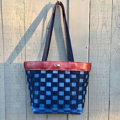 RARE LONGABERGER Large Woven Basket Shopper Tote To Go Bag Purse Leather Nylon