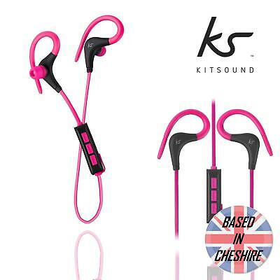 Kitsound Bluetooth Headphones Race Sports Wireless In-Ear Mic Headset Pink NEW