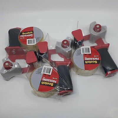 Scotch Packaging 3m Tape Gun Dispenser Foam Grip Heavy Duty Shipping 3 Pack
