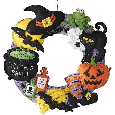 Felt Embroidery Kit ~ Plaid/Bucilla Witch's Brew Wreath - Bucilla Halloween Wreath