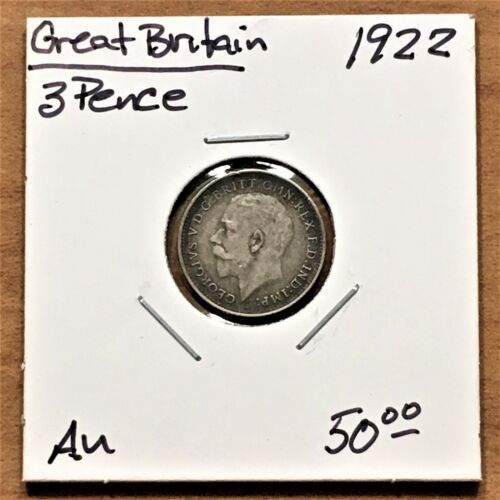 1922 GREAT BRITAIN 3p 3 PENCE SILVER COIN, KING GEORGE V, KM# 813a, AU