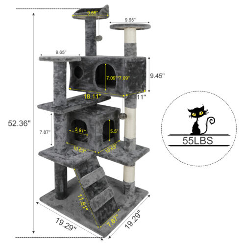 53″ Sturdy Cat Tree Tower Kitty Multilevel w/Padded Viewing Perch High Quality Cat Supplies