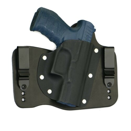 FoxX Leather & Kydex IWB Hybrid Holster Walther PPQ M2 9mm &.40 cal Black Right