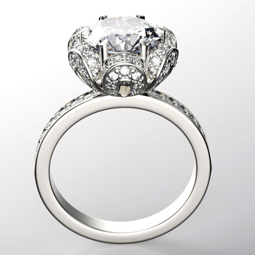 Round Cut 18k Gold Diamond Engagement Ring 2.10 Carat GIA Certified