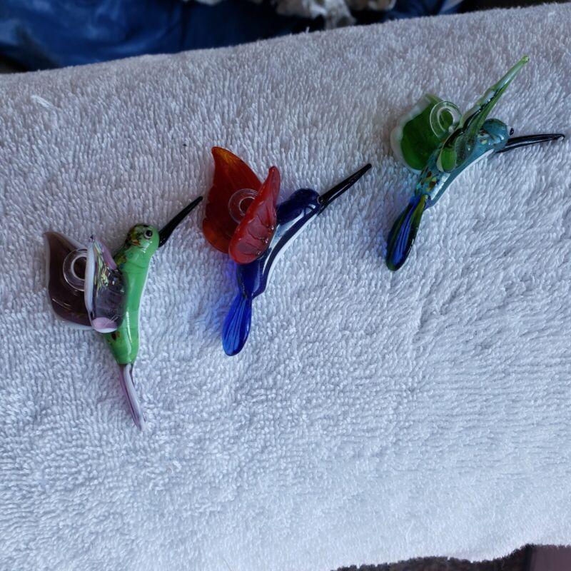 Glass Blown Hummingbird Ornaments