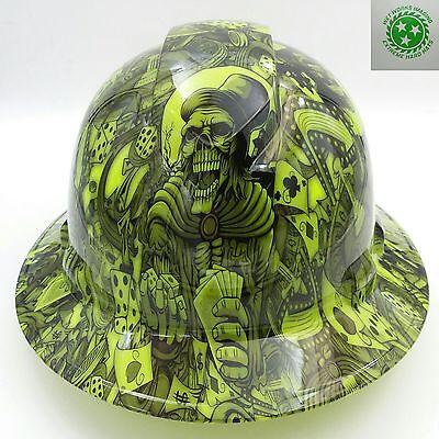 Full Brim Hard Hat Custom Hydro Dipped New Dealers Choice Lime Hot New