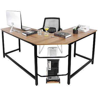 L Shaped Desk Office Computer Glass Corner Desk With Keyboard Tray Steel Modern