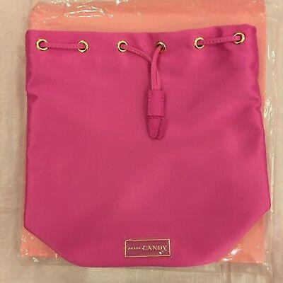 PRADA CANDY satin hot pink gold trim logo DRAWSTRING makeup BUCKET BAG NEW boxed