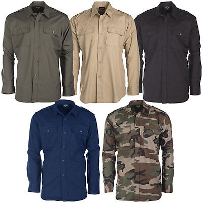 Hemd Schwarz Bekleidung (US Feldhemd Ripstop langarm S-3XL Tropenhemd Safarihemd Army Hemd Armeehemd)