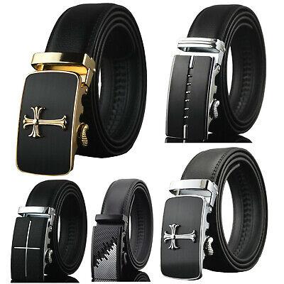 Men's Dress Belt Genuine Leather Adjustable Automatic Buckle Ratchet Belt Genuine Leather Dress Belt