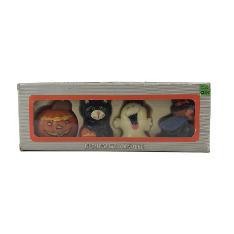 Halloween Decorative Candles Vintage Set of 4 in Box Ghost Witch Vintage Rare