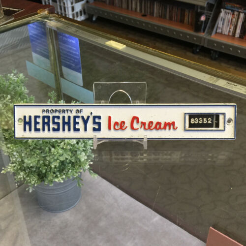 PROPERTY OF HERSHEYS ICE CREAM * PLATE TAG PLAQUE SIGN * VINTAGE * ICE CREAM BOX