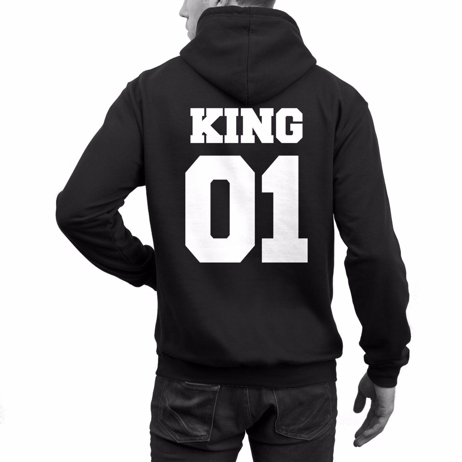 KING QUEEN Hoodies Schwarz oder Weiß Pärchen Pullis Wunschdruck Wunschzahlen NEU