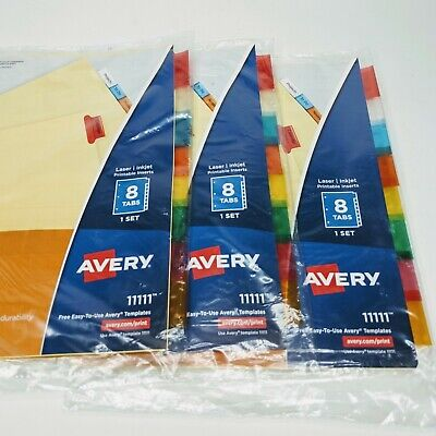Avery 8-tab Binder Dividers Insertable Multicolor Big Sturdy Reinforced 3 Sets