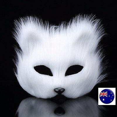 Adult Kids Animal Fluffy Fur Fox Wolf Halloween Fancy Face Mask Cover Dress up ](Wolf Mask Kids)
