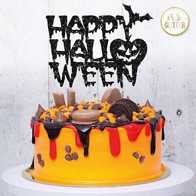 Happy Halloween Cake Topper pumpkin topper glitter cake topper, halloween party ()