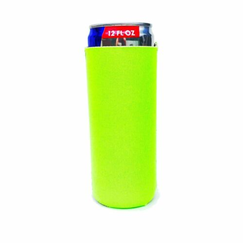 Blank Collapsible Neoprene Koozie for 12oz Slim Cans (Lime Green)