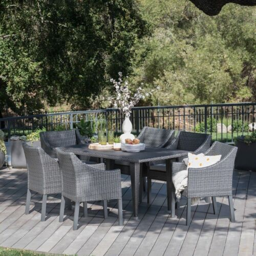Alanna Outdoor 7 Piece Gray Wicker Dining Set with Water Resistant Cushions Home & Garden