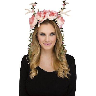 Women's Pink Fawn Faun Deer Forest Floral Fairy Halloween Costume Headband Crown