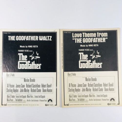 Sheet Music 1972 Set Of 2 Love Theme From The Godfather & Waltz Movie Vintage