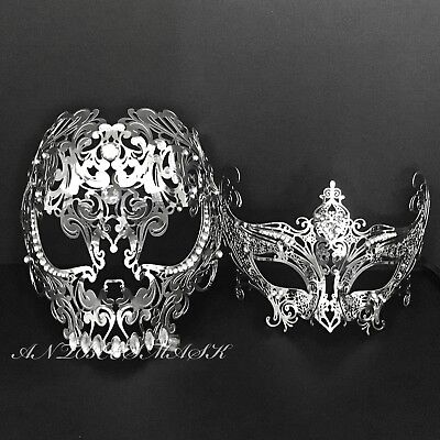 Men Women Couple Silver Metal Evil Skull and Venetian Laser Cut Masquerade Masks - Man Masquerade Masks
