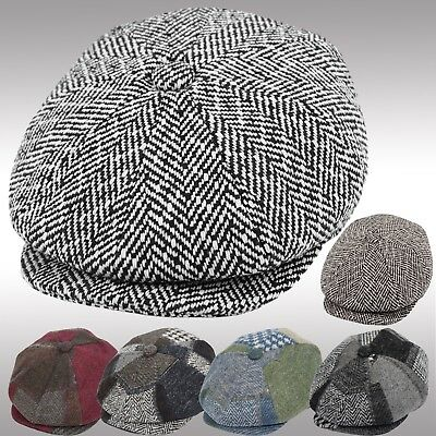 Thick Wool Herringbone Newsboy Cap Patchwork Driving Cabbie Tweed Applejack Hat
