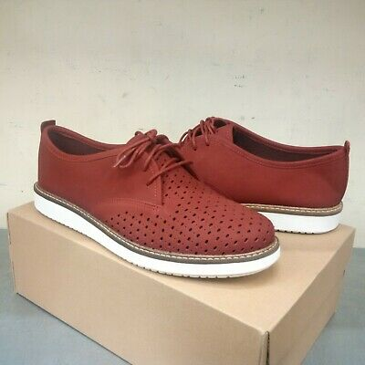 Clarks Casual Oxford (Clarks Artisan Glick Ressetta Red Nubuck Leather Casual Oxford Shoes [EXCLUSIVE])
