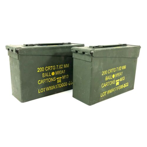 2 .30 Cal Ammo Can, US Military Metal 200 Round Ammunition Box Case
