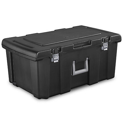 LARGE PLASTIC STORAGE BOX Container Wheeled Tote Bin 16 Gal Portable Organizer ()