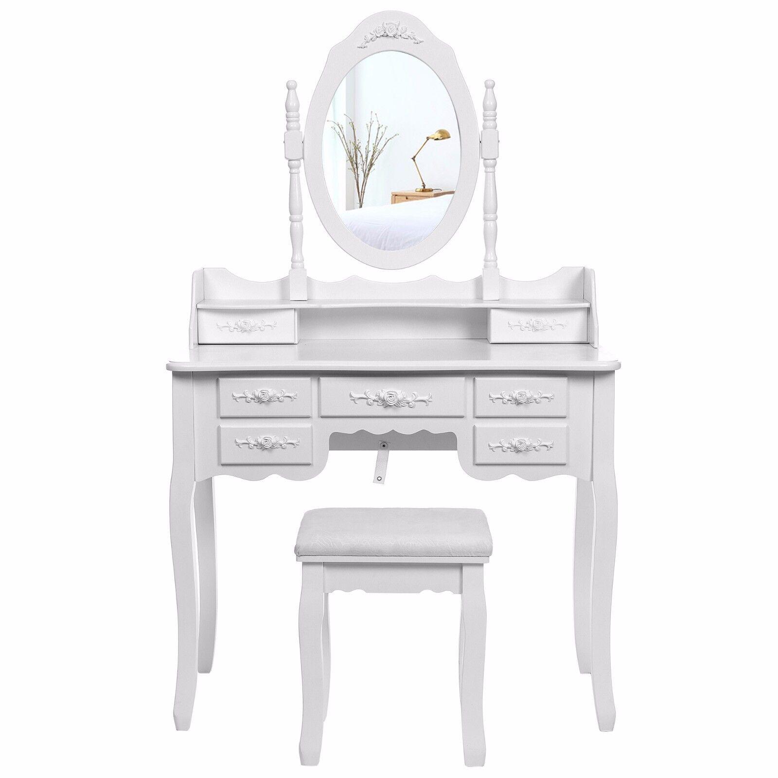 songmics schminktisch mit spiegel hocker 2 unterteiler kippsicherung wei rdt10w eur 142 99. Black Bedroom Furniture Sets. Home Design Ideas