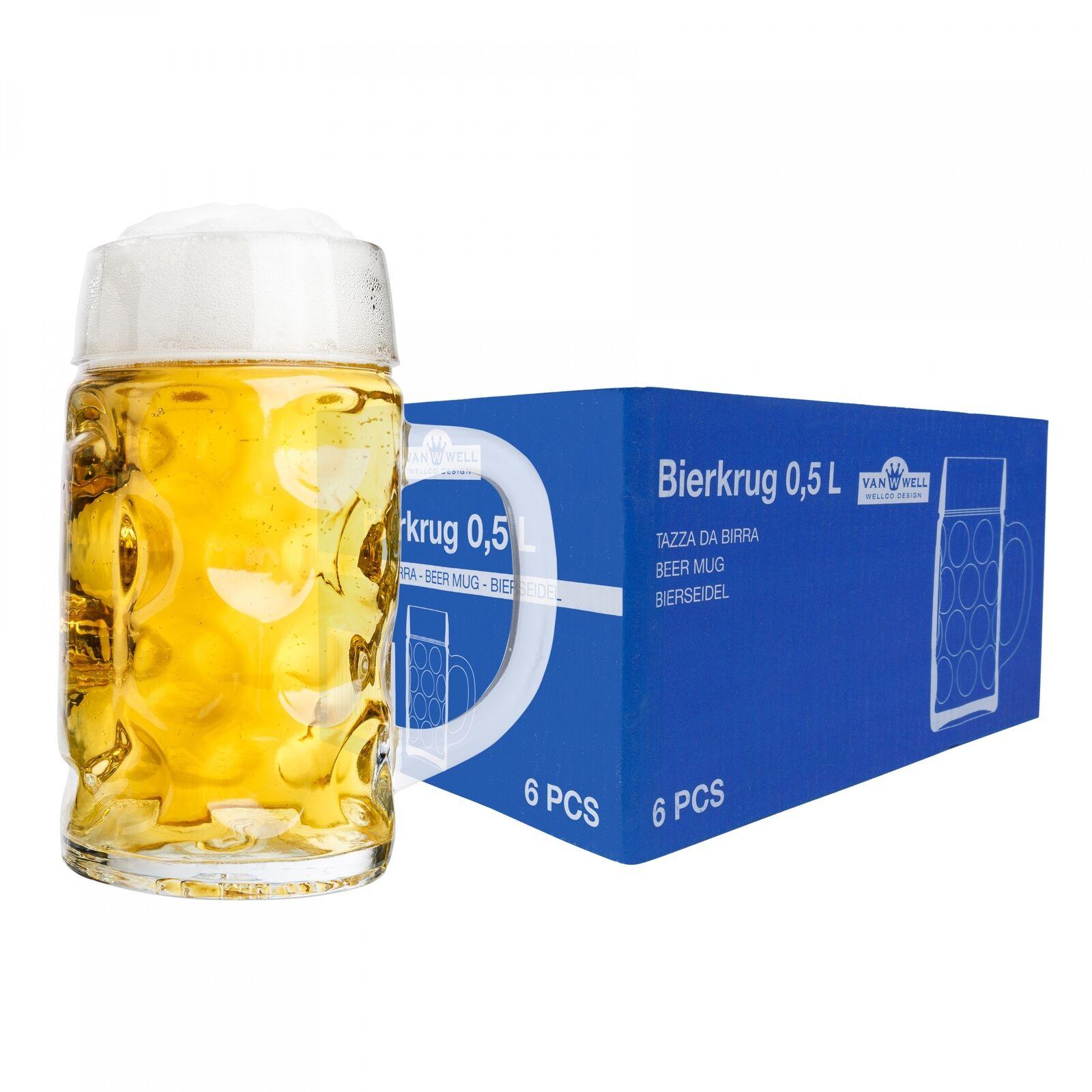 6er Set Maßkrug 0,5L geeicht Bierkrug Glas Biergläser Krüge Krug Gläser Maßkrüge