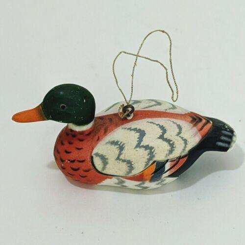 Vintage Mallard Duck Decoy Christmas Holiday Ornanment Made In Hong Kong