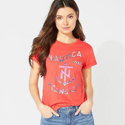 Nautica Womens Nautica Jeans Co. Foil Graphic Tee