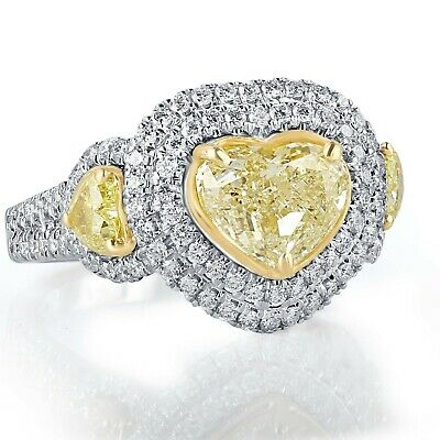 GIA Certified 3.60 Ct Yellow Heart Shaped Diamond Halo Engagement Ring 18k Gold