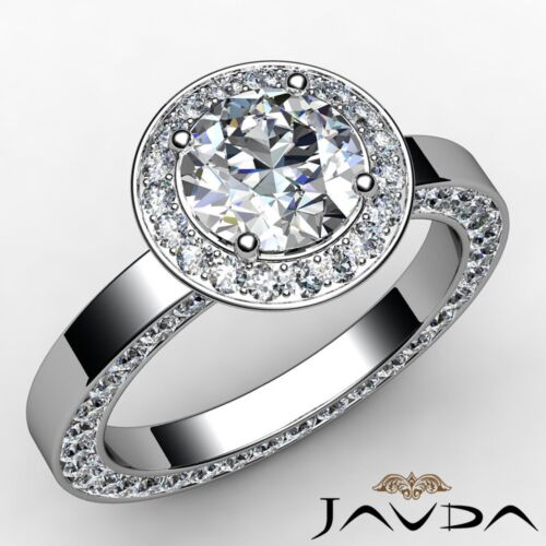 Round Diamond Engagement Ring GIA F VS2 Platinum 950 Halo Pave Set Ring 2.83ct