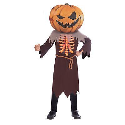 Kinder Scary Horror Großer Kopf Kürbis Vogelscheuche Halloween - Scary Halloween Kostüme Jungen