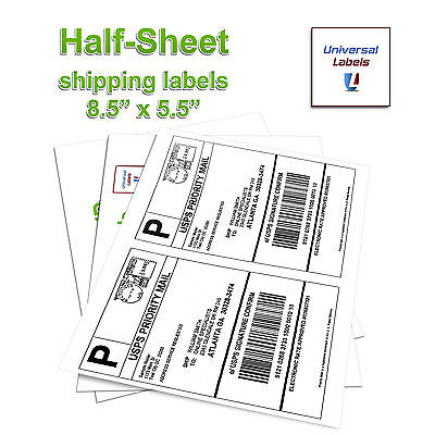 2000 Universal Labels - Shipping Labels - 2 Labels Per Sheet - Made In Usa