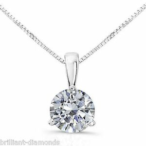 1 Carat Round Cut Solitaire Pendant Necklace and Chain Solid 14k Real White Gold