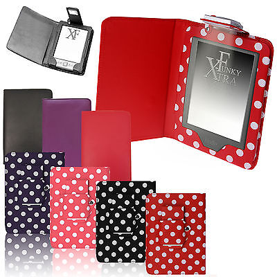 For AMAZON KINDLE 4 4th TOUCH 7 8 LEATHER CASE COVER WALLET WITH LIGHT