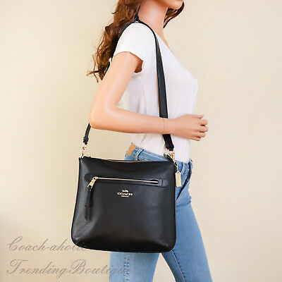New Coach F34823 Mae Pebble Leather Crossbody Bag in Black MSRP $325
