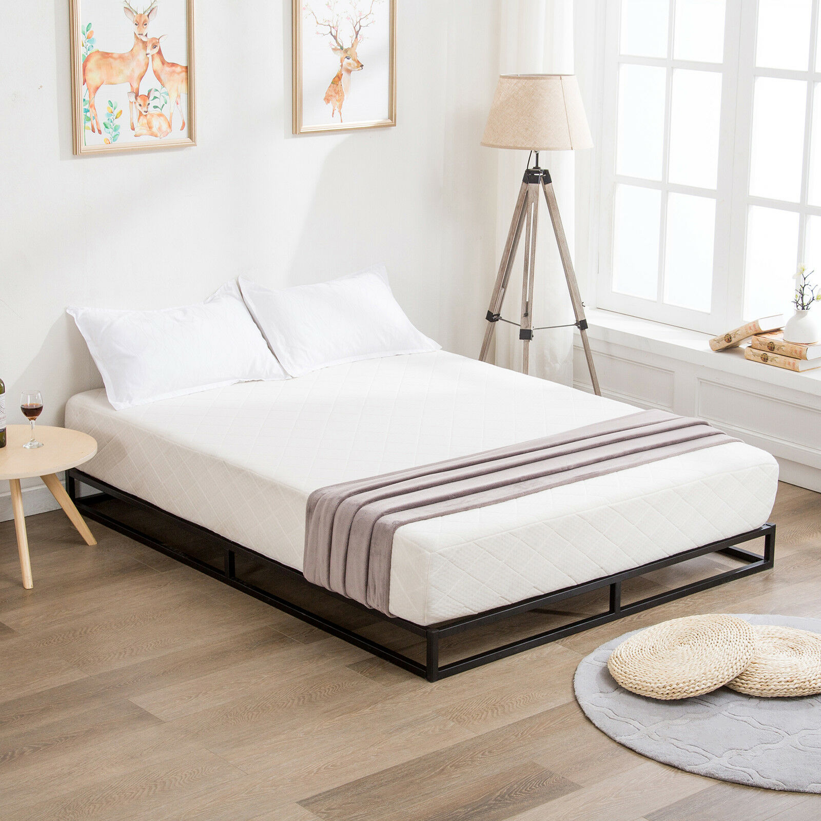 Modern Queen Size Metal Platform Bed Frame Wood Slats Mattress Foundation