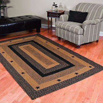- Star Black Braided Area Rug By IHF Rugs. Oval & Rectangle. Many Sizes. Black/Tan
